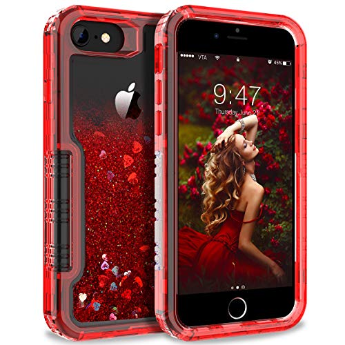 Dexnor iPhone 6/ 6S/ 7/8 Case Floating Glitter Bling Moving Liquid Quicksand Hard Cover Clear Transparent Thickened Dual Layer Full Protection Bumper for Girls/Women - Red