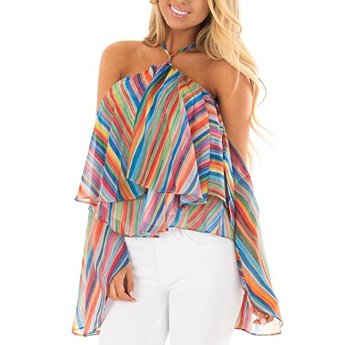 Women T Shirt,Off The Sholuder ANJUNIE Rainbow Printed Stripe Blouse Casual Tops(Multicolor,L)