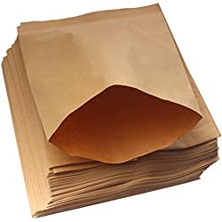 ZICOME 100 Pack Brown Kraft Paper Bags for Candy Bar Treat Snack Cookie Goodie, 6.4 x 8 Inch