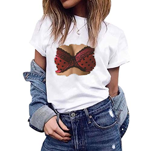 TIFENNY Women Student Casual Crewneck Tops Summer Print Concise Classic Short Sleeve Tee Shirts Blouse