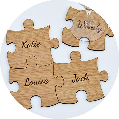 Coaster Lounge Personalized - Personalised Wooden Family Jigsaw Puzzle Piece Coasters - Rustic Personalized-Wedding Wooden Coaster,30pcs