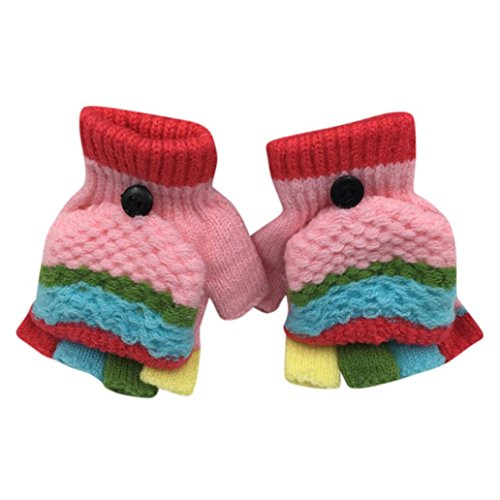 Hongxin Convertible Cotton Knitted Gloves For Kids 2-6 Years Fingerless Flap Warm Winter Mitten Multicolor (Pink)