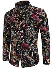 QZH.DUAO Men's Paisley Floral Print Long Sleeve Button Up Dress Shirts Tops, CS 105, US 3X-Large = Tag 8XL