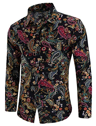 - Men's Paisley Floral Print Long Sleeve Button Up Dress Shirts Tops, 21#Color, US Large(Slim Fit) = Tag 3XL