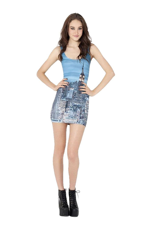 Longwu Womens Stretchy 3d Digital Print Low-cut Bodycon Mini Tank Dress