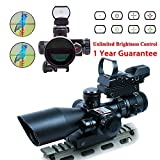 WhaleStone 2.5-10x40 Tactical Rifle Scope Dual Illuminated Mil-dot with Red Laser, Rail Mount and 4 Reticle Red and Green Dot Open Reflex Sight with Weaver