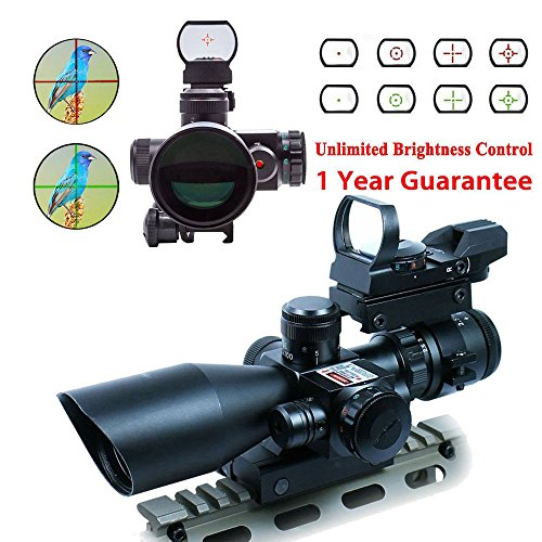 WhaleStone-25-10x40-Tactical-Rifle-Scope-Dual-Illuminated-Mil-dot-with-Red-Laser-Rail-Mount-and-4-Reticle-Red-and-Green-Dot-Open-Reflex-Sight-with-Weaver
