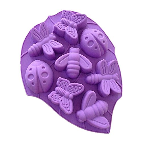 Allforhome(TM) 8 Cavities Butterfly Dragonfly Silicone Soap Mold Chocolate Muffin Cups Handmade Craft Art DIY Molds