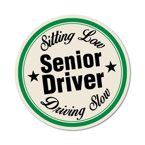 Senior Driver Sitting Low Driving Slow Sticker Decal Funny Vinyl Car Bumper