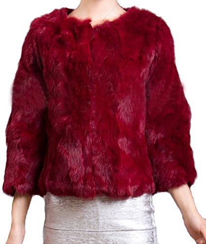 femmes rex manteau de court Helan fourrure reel lapin Bordeaux PAd7xxw