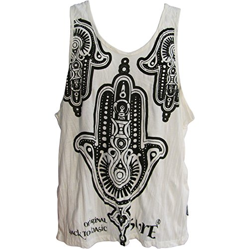 SURE Men's Hippie Yoga Hamsa Crinkled Cotton Sleeveless Tank Top T-Shirt #156 ()