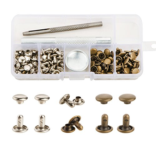 YMAISS 60 Sets Leather Rivets Double Cap Rivets with Fixing Tool Kit for Leather Craft Repairing Decoration, 2 Color 1 Size,Tubular