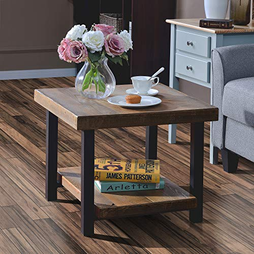 Harper&Bright Designs Easy Assembly Hillside Rustic Natural Coffee Table with Storage Shelf for Living Room (22