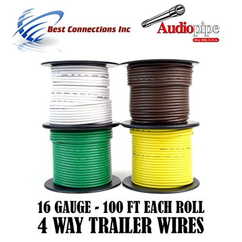 (Audiopipe Trailer Wire Light Cable for Harness 4 Way Cord 16 Gauge - 100ft roll - 4 Rolls)