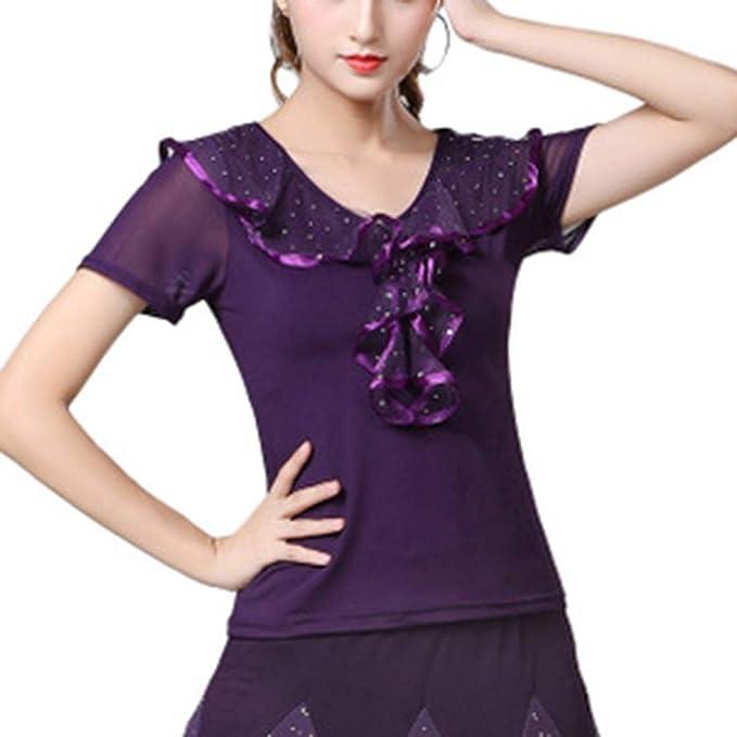 Ycxydr Pijama Camisa de Manga Corta-Latina de la Danza Vestuario de ensayo Funcionamiento de la Ropa, tamaño: M Albornoz (Color : Purple, Size : 4XL): Amazon.es: Hogar