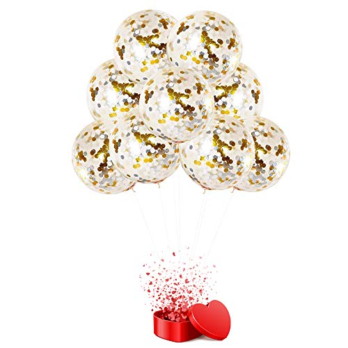Acmelife Gold & Silver Balloons,20PCS 12 inches Latex Party Golden Paper Confetti Balloons Party Decorations ()