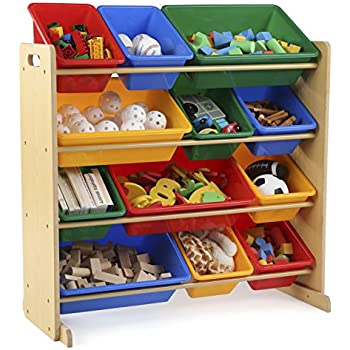 Tot Tutors Kids' Toy Storage Organizer with 12 Plastic Bins,  Natural/Primary (