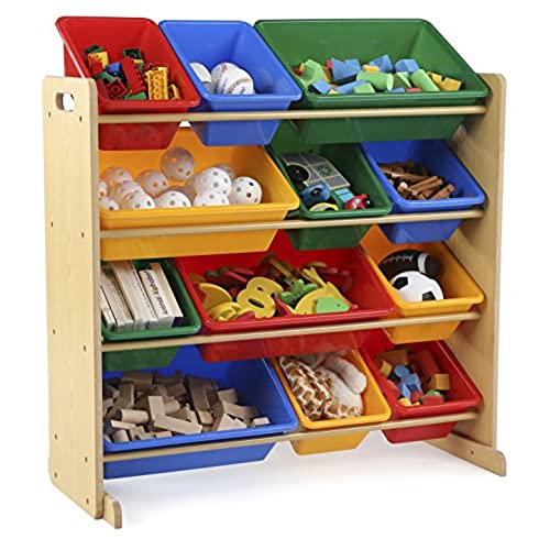 Tot Tutors Kidsu0027 Toy Storage Organizer with 12 Plastic Bins Natural/Primary (Primary Collection)  sc 1 st  Amazon.com & Playroom Storage: Amazon.com