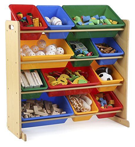 Tot Tutors Kids' Toy Storage Organizer with 12 Plastic Bins, Natural/Primary (Primary Collection) - 3 Shelf Set Cabinet