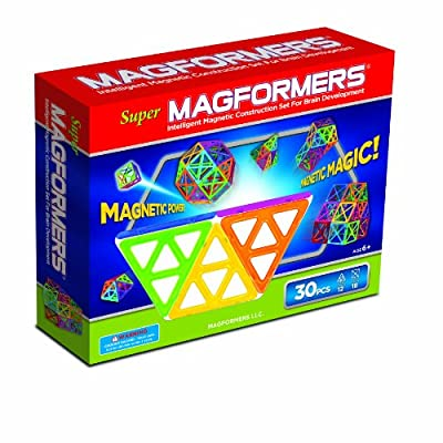 Super Magformers Magnetic Building Construction Set - 30 Piece Rainbow Set by Magformers