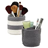 Makeup Storage for Small Bathroom mDesign Knit Cosmetic Storage Organizer Bin for Makeup Brushes, Eyeliner, Lipstick, Beauty Supplies - Set of 2, Extra Small, Gray/Ivory