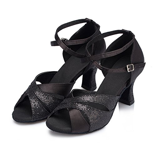 High Sandals Latin Dance Ballroom Wedding Heel Minishion Womens Black Taogo Satin TH120 1wCq44Z6x