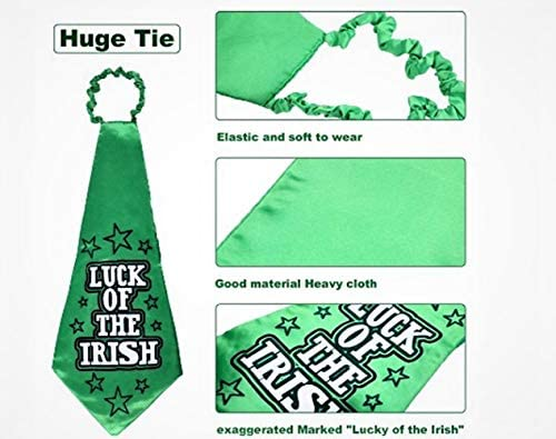 AODDNIA St. Patrick's Day Accessory, St. Patrick's Party Favors, Shamrock Hat and Necklace and Clover Glasses, Headboppers Ties and Strap for Party