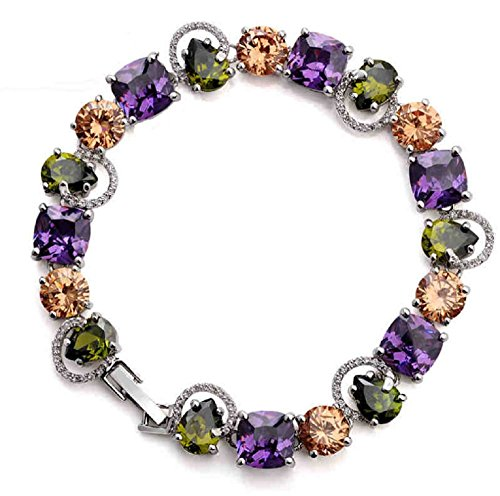 NA White Gold Plated Multicolor Cubic Zirconia Bracelet for Woman, Gifts for Woman