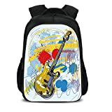 15.7'' School Backpack,Art,Abstract Musical Instrument Expressionist Artwork Stained and Tainted Background Print,Teal Yellow,for Teenagers Girls Boys