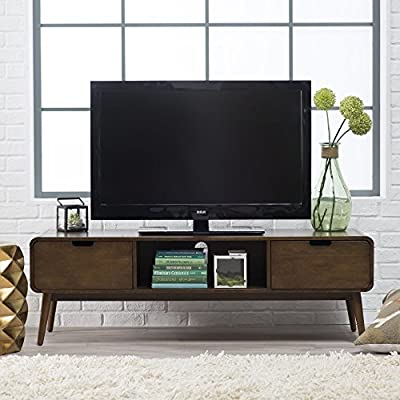 Belham Living Carter Mid Century Modern TV Stand - Overall dimensions: 59W x 20D x 19H in. Solid poplar legs with birch veneer Walnut finish - tv-stands, living-room-furniture, living-room - 519mGwyIhPL. SS400  -