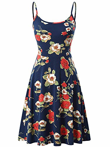 VETIOR Flare Dresses, Women' Sleeveless Adjustable Strappy Floral Midi Skater Dress Navy Blue