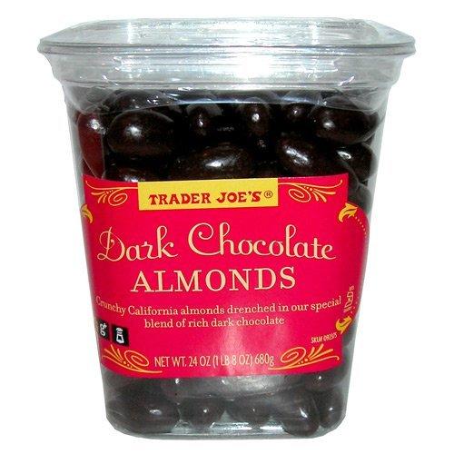 Trader Joe's Dark Chocolate Almonds Crunchy California Almonds Drenched in Rich Dark Chocolate no gluten or sodium by Trader Joe's