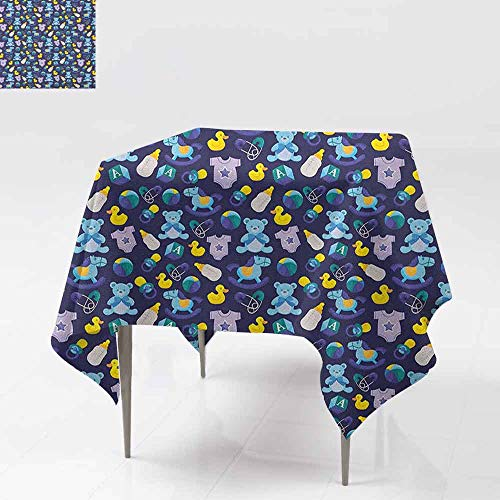 SONGDAYONE Home Square Tablecloth Nursery Children Toys Pattern with Rubber Duck Teddy Bear Beach Ball and Rocking Horse Indoor and Outdoor Tablecloth Multicolor W70 xL70 ()