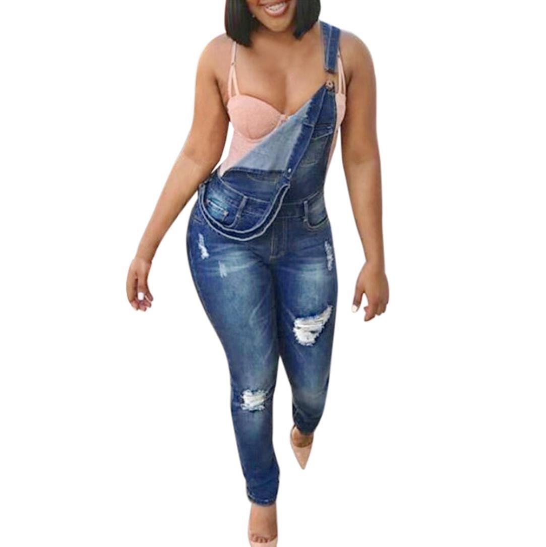 Rambling Women Distressed Bib Overall Skinny Ripped Denim Jumpsuit Rompers