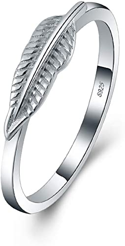 ring in 925 sterling silver leaf