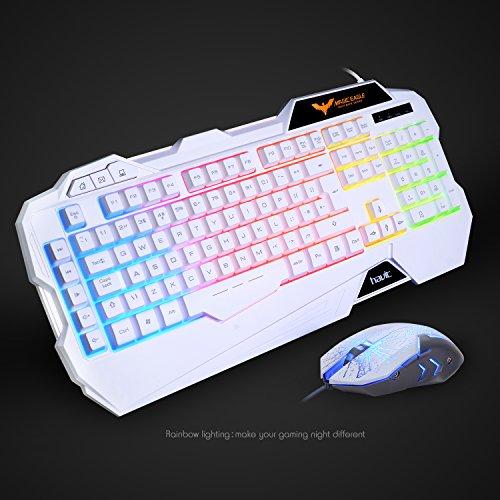 gaming keyboard uk layout havit rainbow led backlit wired keyboard and mouse combo set white. Black Bedroom Furniture Sets. Home Design Ideas