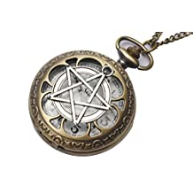 Pentagram Pocket Watch Necklace, Star Pentacle Pendant, Supernatural Necklace, Goth Pendant, Wiccan Necklace, Gothic Wicca Jewelry