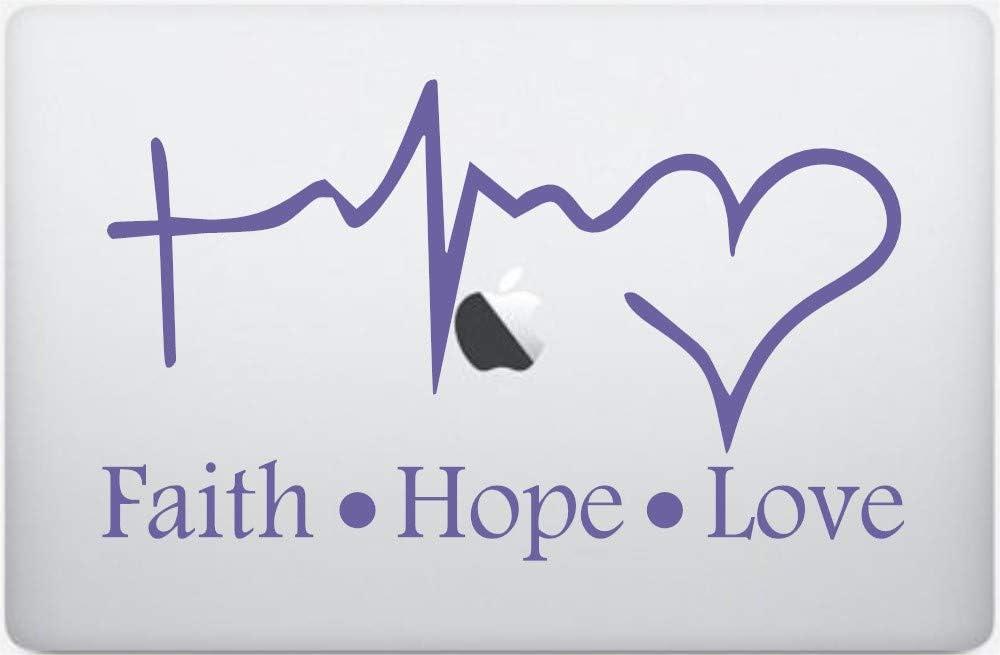 Faith Hope Love Silhouette Design Vinyl Decal is a Faith Hope Love Heartbeat Design Laptop Print Decal. Laptop Sizes 12, 13 & 15 inch. Line Heartbeat with Heart Decal-Color-Purple