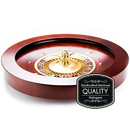 Deluxe Wooden Mahogany Finish Roulette Wheel with Balls - 19.5 Inch Diameter! by Poker Supplies