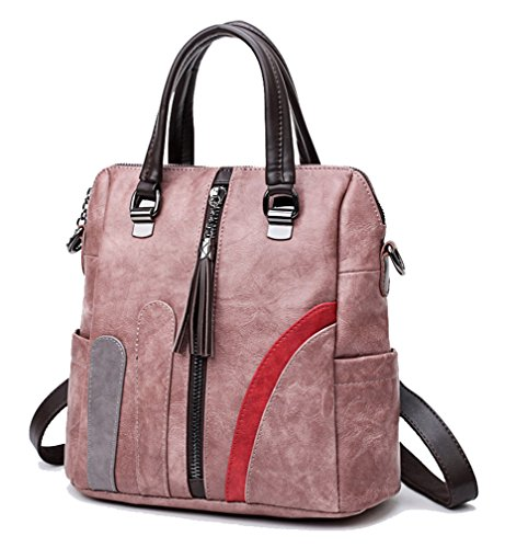 Backpack Show Women's Splice PU Bag Pink Shoulder Hit color Yan 8d67wd
