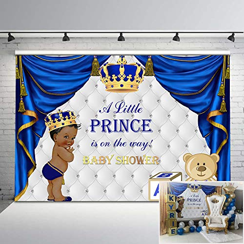 Mehofoto Baby Shower Photography Backdrop Royal Blue Little Prince Photo Background 7x5ft Gold Grown Cute Baby Bear Sliver Backdrop for Royal Baby Shower -