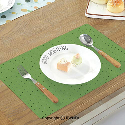 SfeatruMAT Waterproof Table Mats Kitchen Decor Kitchenware Utensils Vegetables Spices Cooking Creative Recipe Home and Cafe Design Print Non-Slip Heat Resistant Decor Placemat Green Red]()