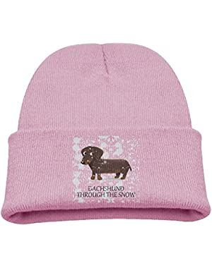 Dachshund Through The Snow Unisex Baby Toddler Stretchy Knit Beanie Skull Cap