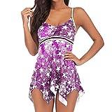 TIFENNY Women Plus Size Pentagram Print Tankini Bathing Suit Swimsuit Beachwear Padded Swimwear Color Block Swimdress Purple