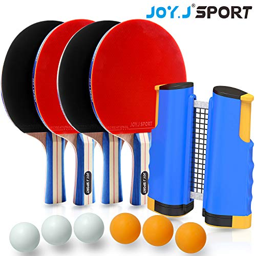 Joy.J Sport Ping Pong Paddle Set with Retractable Net - 4 Premium Table Tennis Rackets - 6 Standard 3-Star Balls, Training/Recreational Racquet Kit, Portable Cover Case Bag, Indoor or Outdoor Play