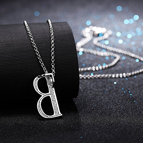 0722eed74265f Alphabet Letter Shape Pendant Necklace with White Gold Plated And ...
