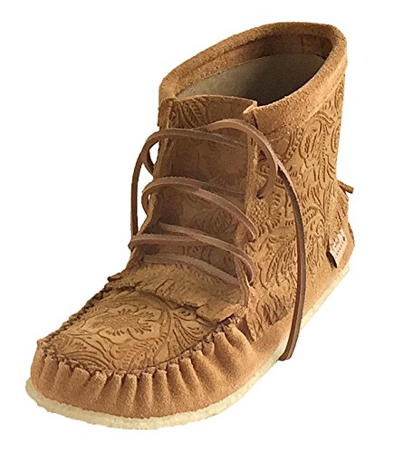 Laurentian Chief Women's Imperiale Floral Embossed Moccasin Shoes Lace Up Ankle Boots (5) Dark Tan