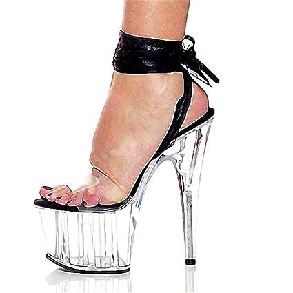 Calendars, Planners & Cards 15cm Sandals Shoes Transparent Women Shoes Ankle Strap Buckle Strap Platform Peep Toe High Heel Sandals Ladies Dance Shoes Fashionable Patterns