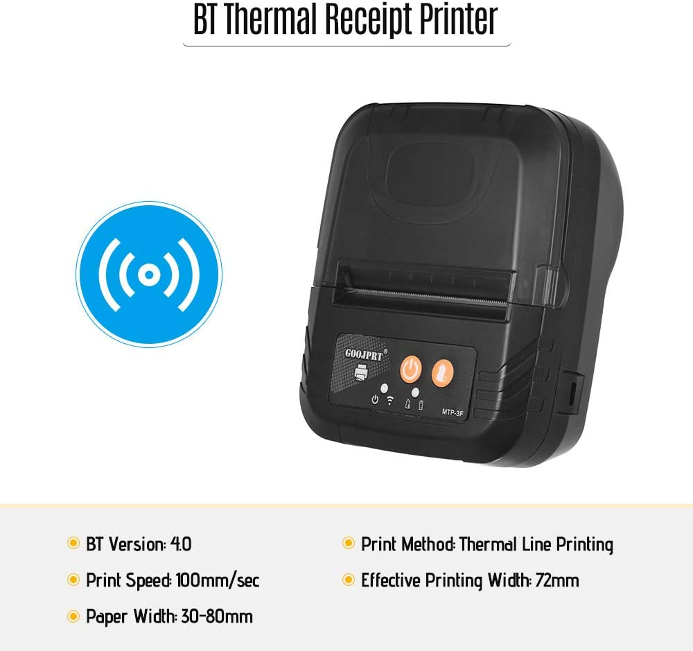 GOOJPRT Portable Mini Wireless 80mm BT Thermal Receipt Printer High Speed Bill Ticket Printing with USB Cable Rechargeable Battery Compatible with ...