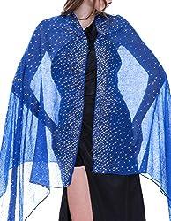 Royal Blue Shawl with Rhinestone